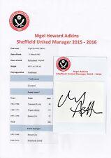 NIGEL ADKINS SHEFFIELD UNITED MANAGER 2015-2016 ORIGINAL SIGNED CUTTING/CARD