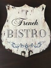 Distressed Vintage Style French Bistro Wood Art Sign Country Farmhouse Shabby