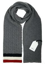 NEW MONCLER GAMME BLEU GRAY 100% CASHMERE WEB DETAIL LONG NECK SCARF WARP