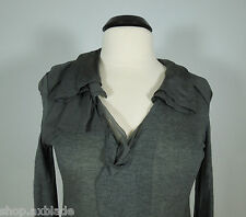 HANII Y. Gray Top with Silk Chiffon Trim at Neck Line size 40