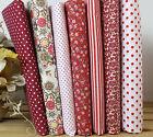 Dark Red Series 7 PCS Assorted Pre-Cut Plain Cotton cloths Fabrics for Sewing D3