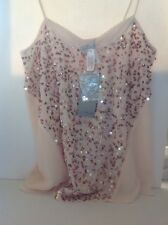 Victorias Secret Ludi Delphino Designer Sequin Beaded Tank Cami Top S NWT Blush