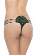 NWT $258 LA PERLA SZ. 2 SMALL BLACK LABEL JAVA DANCER G-STRING PANTIES JEWELLED