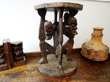 """4 ANGRY TRIBESMEN STOOL early 1900s AFRICAN hand carved TRIBAL FURNITURE 17""""H"""