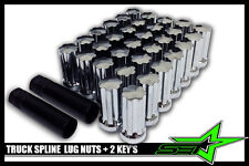 24 CHROME SPLINE LUG NUTS 2 KEYS | 14X1.5 | 6 lug | CHEVY GMC | SILVERADO HUMMER