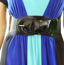 Funfash Plus Size Women Cinch Black Patent Leather Stretch Elastic Belt 3X 24 26