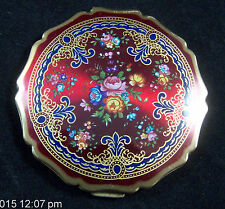Vintage Stratton Red Enamel Flowers Compact Made In England  MOTHERS DAY gift