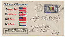 """1944 WWII US Patriotic Cover """" A B C D Powers """" Alphabet of Democracy"""