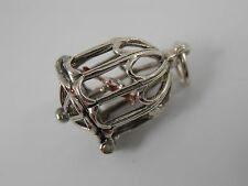 TRADITIONAL STERLING SILVER OPENING BIRD IN A CAGE CHARM  VINTAGE SILVER CHARM