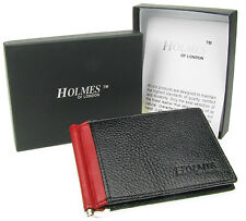 WALLET MENS BLACK REAL LEATHER BI-FOLD MONEY CLIP CREDIT CARD GIFT BOX UK NEW
