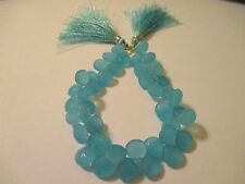 6 Pieces Faceted Heart Aqua Chalcedony Beads AC3