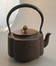 Meiji Japanese Iron Tetsubin Teapot With Silver Inlay On Handle  龙文堂造  or  龍文堂造