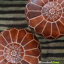 SET OF 2XPREMIUM MOROCCAN POUFFE BROWN TAN,OTTOMAN FOOTSTOL & GIFT FOR WEDDING
