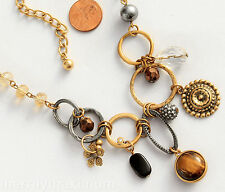 Chico's Signed Necklace Gold Tone Chain Crystals Flower Charms Tiger's Eye