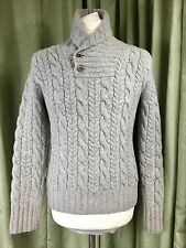 Polo by Ralph Lauren Merino/Cashmere Hand Knit Aran Shawl Collar Grey Jumper - M