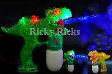 12 PACK Dinosaur LED Bubble Guns Flashing Light Up Bubbles Blaster Squirt Blower