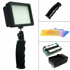 Handheld Lighting 160 LED Video Light + Battery + Charger DV Camcorder Canon US
