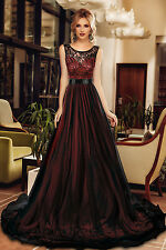 Black Sheer Lace Mesh Overlay Burgundy Cocktail Prom Evening Dress size UK 8-10