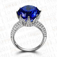 Women Solitaire 8ct Sapphire Cz 925 silver Engagement Wedding Band Ring Sz 6/L
