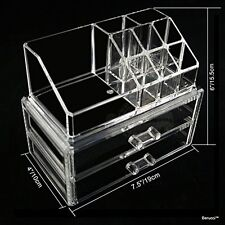 Clear Acrylic Jewelry Makeup Cosmetic Organizer Storage  - 2 Drawer Rectangular
