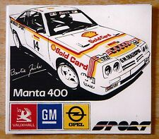 OPEL MANTA 400 Bertie Fisher / Shell oli Rally Motorsport Adesivo / Decalcomania