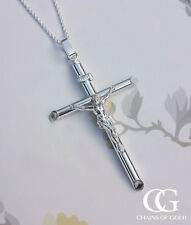 Men's Unisex Large Sterling Silver 6.3cm Crucifix Necklace 20""