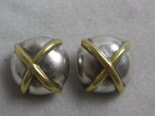"""VINTAGE BARRA STERLING SILVER ROUND DOMED CLIP ON EARRINGS W/ GOLD PL """"X"""" 16 GR"""