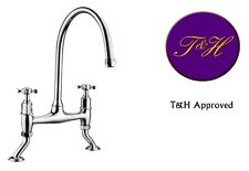 Belfast Chrome Vintage traditional style chrome Kitchen Sink Bridge Tap deck