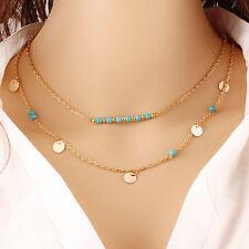 Gold Women Fashion Pendant Choker Chunky Turquoise Statement Bib Chain Necklace