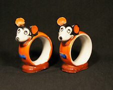 1930'S 2 RAT FACED MICKEY MOUSE DISNEY NAPKIN RINGS HAND PAINTED MADE IN JAPAN.
