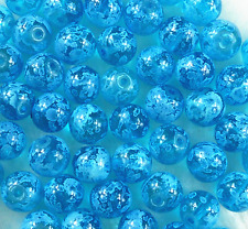 100Pcs 6mm Blue Czech Lampwork Glass Pearl Round Spacer Loose Beads  # W45