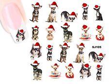 Weihnachten Christmas CHIHUAHUA NAGEL Stickers NAIL STICKERS-wasserlöslich SJ105
