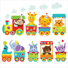 Jungle Animal Train Wall Art Stickers Decal Mural Transfer Elephant Lion Tiger
