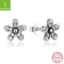 Authentic 925 Sterling Dazzling Daisy Studs Earrings With White Clear CZ Jewelry