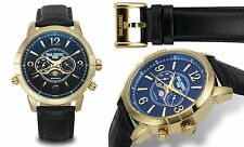 NEW Paul Perret 12183 Men's Swiss Moonphase Anatole Series Date Gold/Black Watch