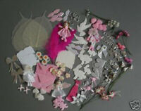 PACK OF 50  EMBELLISHMENTS & DIE-CUTS - PINK THEME