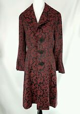 Forwear NY Jacket Red Swirl and Black Big Button Coat Size M Lightweight Coat