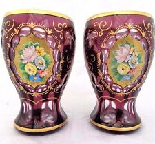 Antique Bohemian Tumblers Cut To Clear Amethyst Glass Enamelled & Gilded c 1880