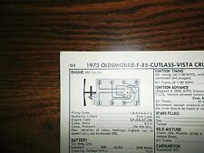 1972 Oldsmobile EIGHT Series F85 Cutlass Delta 88 350 CI V8 2BBL Tune Up Chart