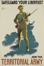 WW1 RECRUITING POSTER TERRITORIAL ARMY NEW A4 PRINT ARMY RESERVE BRITISH ARMY