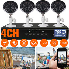 4CH DVR Recorder IR-CUT Night Vision CCTV Camera Outdoor Home Security System
