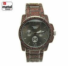 Full Iced Out Hip Hop Metal Band Red Stone Techno Pave Watches 8038 RDHE
