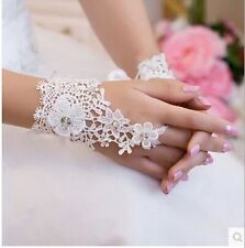 Lace Short Fingerless Wedding Gloves Appliques Sequined Bridal Accessories
