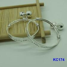 1 Pair NF 925 Silver Plated Baby Bracelet Kids Anklets Bangle Bell 5.5""