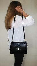 $1280. authentic SALVATORE FERRAGAMO Italy SHOULDER PURSE Black LEATHER & Snake