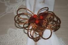 KIM SEYBERT BEADED TURKEY NAPKIN RING HOLDERS - ORANGE BROWN - SET OF 4