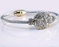 Designer Clear CZ Crystal Clover Silver Gold Cable Magnetic Bangle Bracelet