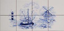 """Fliesen bild 40x20 nach """" Delter Delft Art"""" mit Windmühle, Leuchtturm, Schiff"""