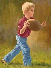Will to Win by June Dudley Little Boy Big Football Childrens Art Canvas 12x16