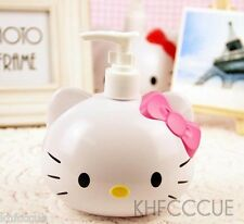Hello Kitty Cute Head Shaped Pink Bowknot Soap Shampoo Lotion Dispenser Bump K76